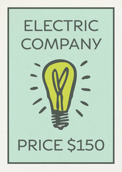 Wall Art - Mixed Media - Electric Company Vintage Monopoly Board Game Theme Card by Design Turnpike