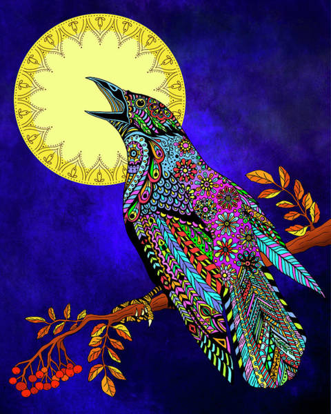 Raven Drawing - Electric Crow by Tammy Wetzel