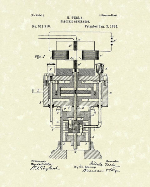 Wall Art - Drawing - Electric Generator 1894 Patent Art by Prior Art Design