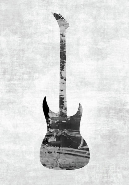 Photograph - Electric Guitar Black White by Andrea Anderegg