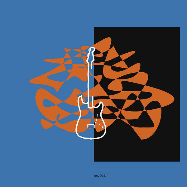 Digital Art - Electric Guitar In Blue by David Bridburg