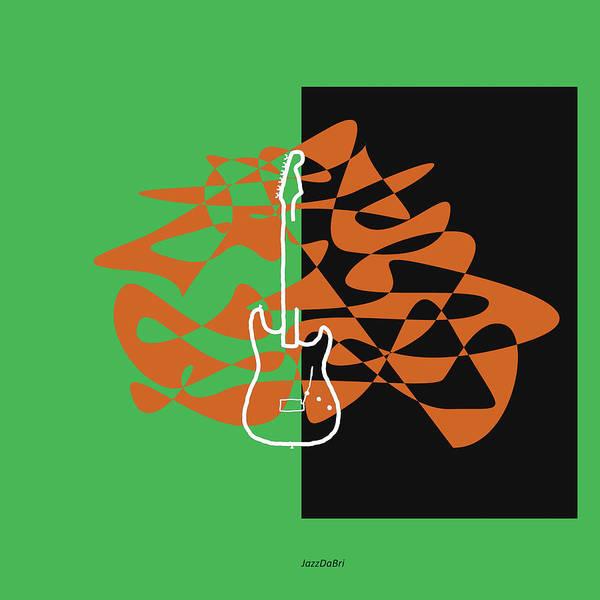 Digital Art - Electric Guitar In Green by David Bridburg