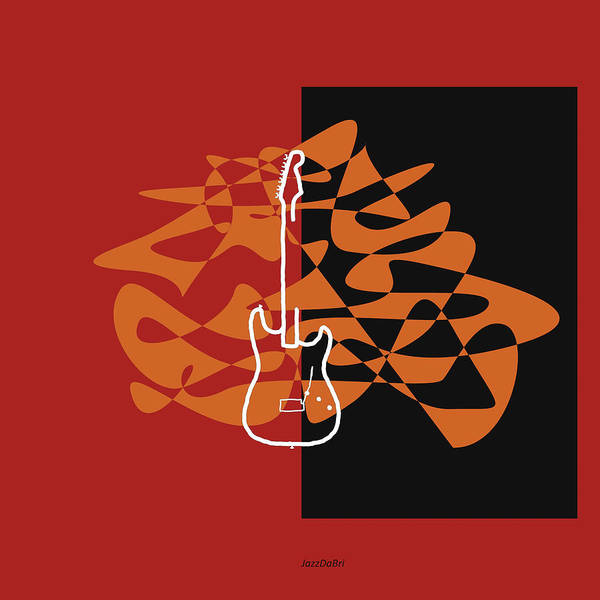 Wall Art - Digital Art - Electric Guitar In Orange Red by David Bridburg