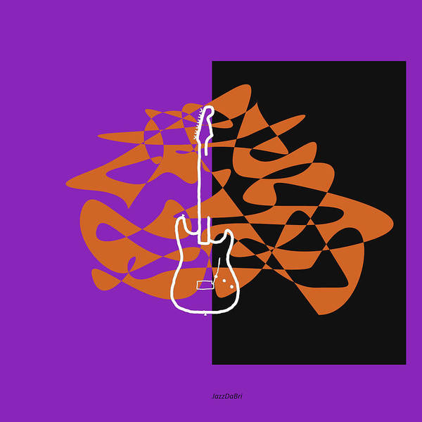 Wall Art - Digital Art - Electric Guitar In Purple by David Bridburg