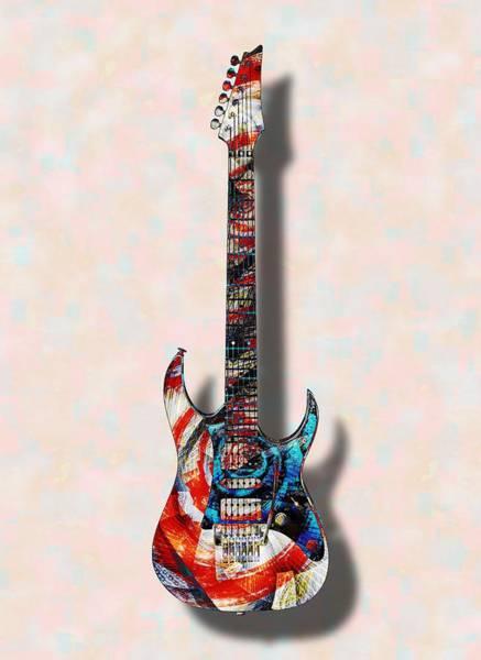 Digital Art - Electric Guitar - Psychobilly - Musical Instruments by Anastasiya Malakhova
