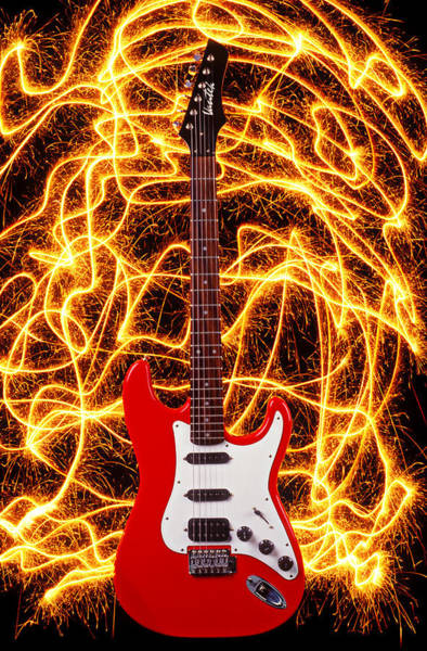 Sparks Wall Art - Photograph - Electric Guitar With Sparks by Garry Gay