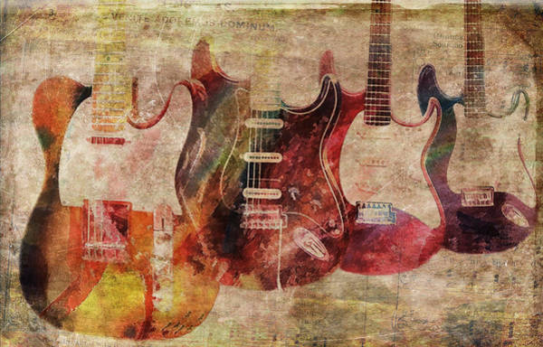 Fret Board Photograph - Electric Guitars Textured by Athena Mckinzie