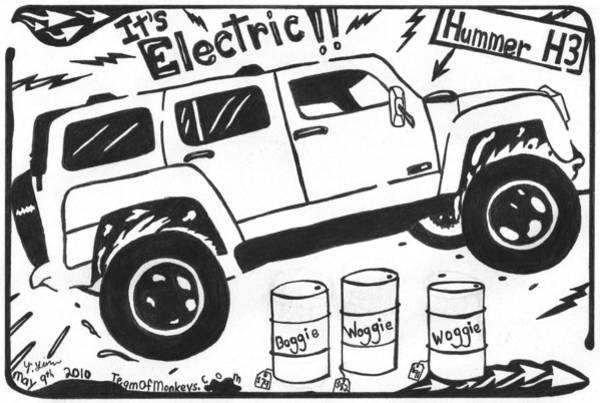 Humvee Drawing - Electric Hummer Maze Cartoon by Yonatan Frimer Maze Artist