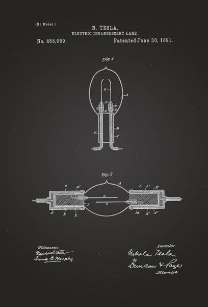 Artful Drawing - Electric Incandescent Lamp - Nikola Tesla Patent Drawing From 1891 - Chalkboard by Patently Artful