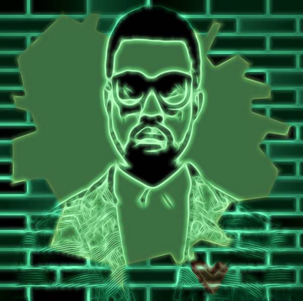 Rap Mixed Media - Electric Kanye West Graphic by Dan Sproul