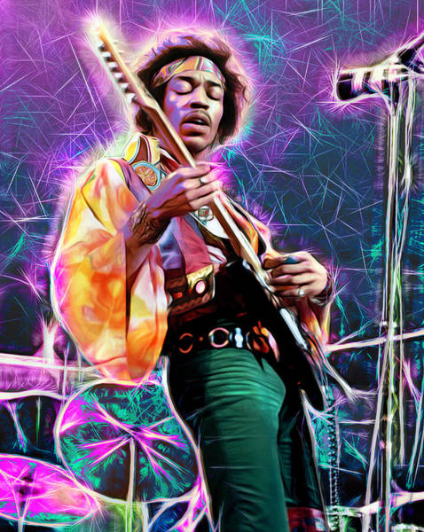 Wall Art - Mixed Media - Electric Ladyland, Jimi Hendrix by Mal Bray