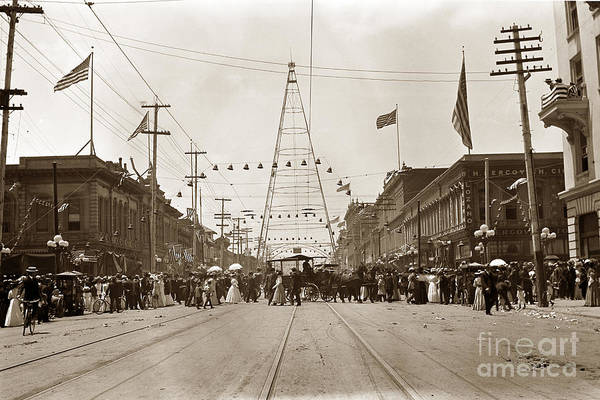 Photograph - Electric Light Tower Wa At The Intersection Of Market And Santa Clara Streets In San Jose From 1881  by California Views Archives Mr Pat Hathaway Archives