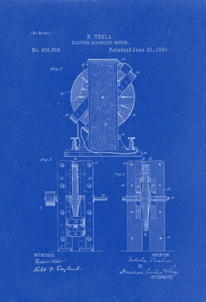 Artful Drawing - Electric Magnetic Motor - Nikola Tesla Patent Drawing From 1889 - Blueprint by Patently Artful