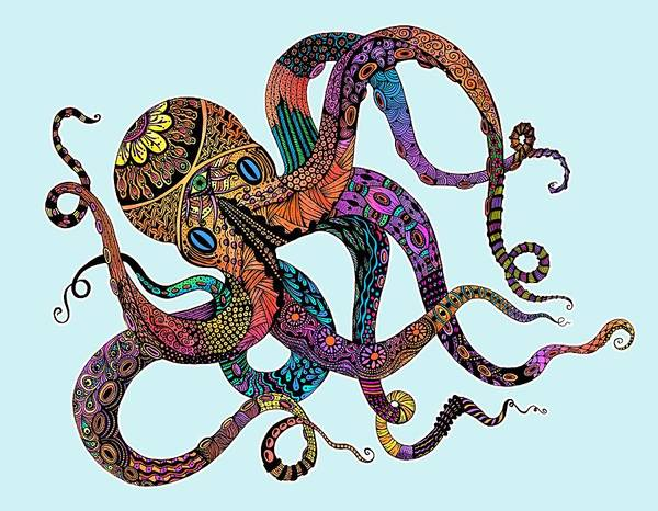 Neon Drawing - Electric Octopus - Customizable Background by Tammy Wetzel