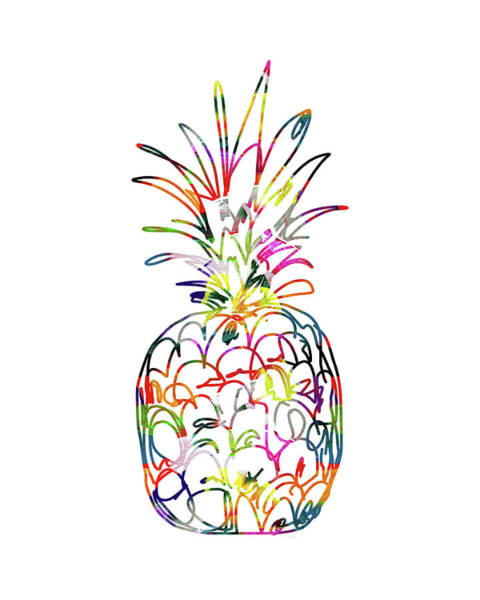 Wall Art - Digital Art - Electric Pineapple - Art By Linda Woods by Linda Woods