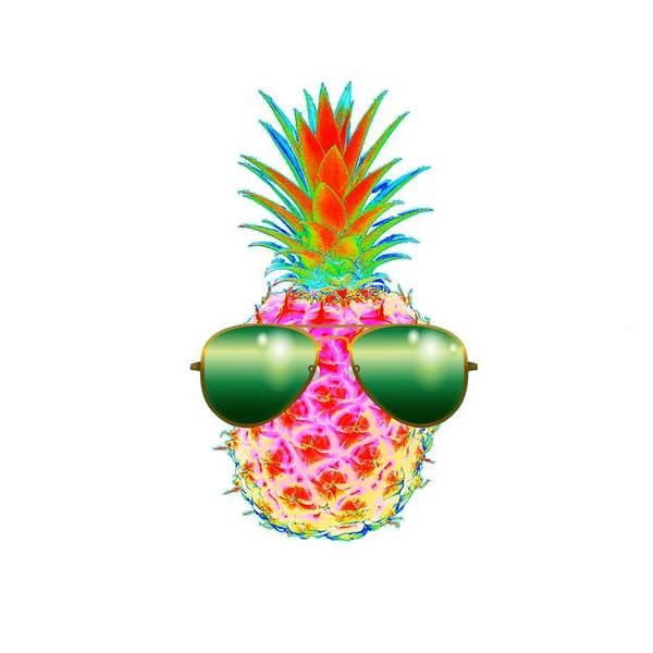 Pineapples Digital Art - Electric Pineapple With Shades by Marianna Mills
