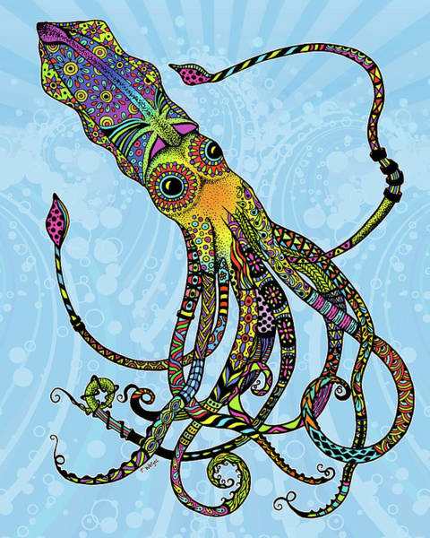 Neon Drawing - Electric Squid by Tammy Wetzel