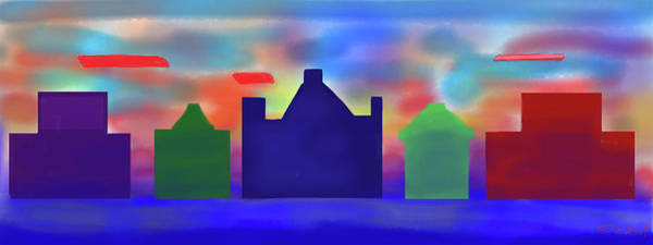 Art Print featuring the digital art Electric Sunrise by Teresa Epps