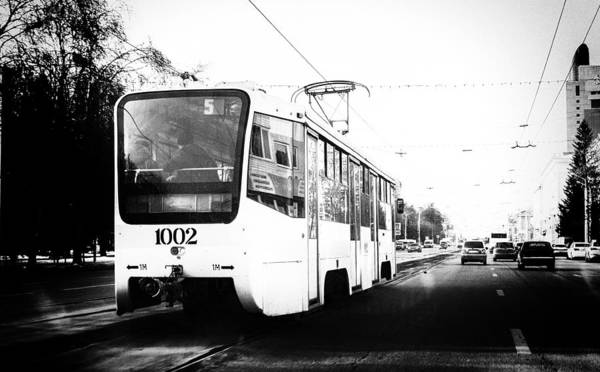 Photograph - Electric Urban Trolley Bus In Monochrome by John Williams
