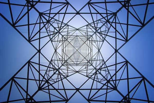 Utility Pole Photograph - Electrical Symmetry by Mikel Martinez de Osaba