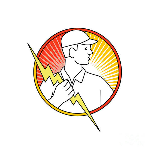 Wall Art - Digital Art - Electrician Holding Lightning Bolt Circle Monoline by Aloysius Patrimonio