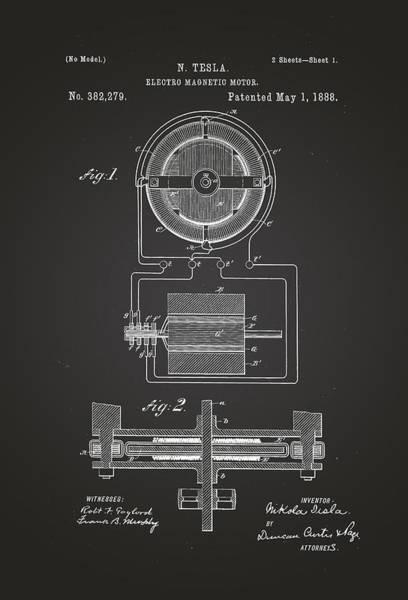 Artful Drawing - Electro Magnetic Motor - Nikola Tesla Patent Drawing From 1888 - Chalkboard by Patently Artful