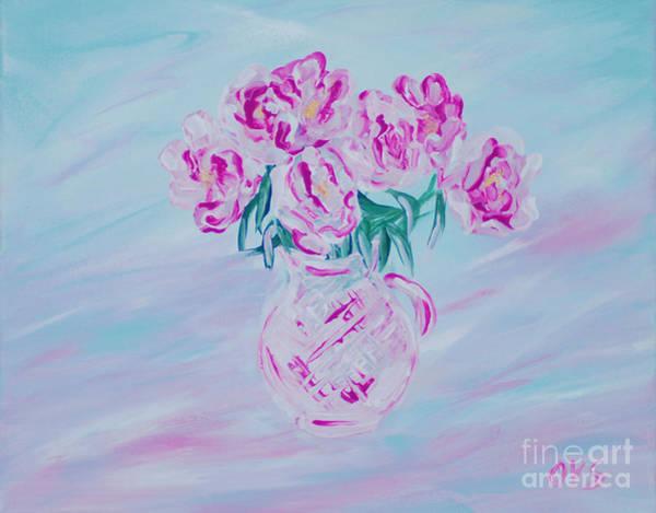 Painting - Elegant Bouquet Of Peonies. Joyful Gift. Thank You Collection by Oksana Semenchenko