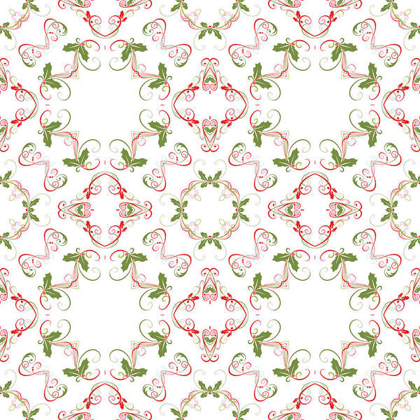 Digital Art - Elegant Christmas Holly Pattern by Ruth Moratz