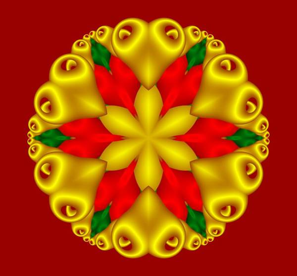 Digital Art - Elegant Christmas Poinsettia With Hearts  by Ruth Moratz