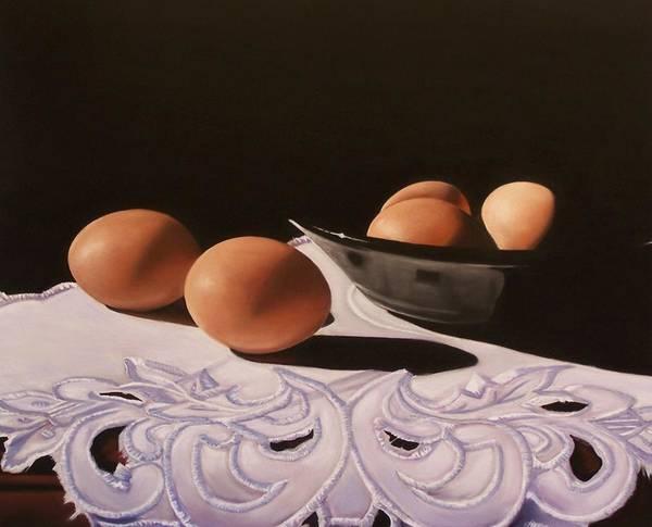 Doily Painting - Elegant Eggs by Melanie Cossey