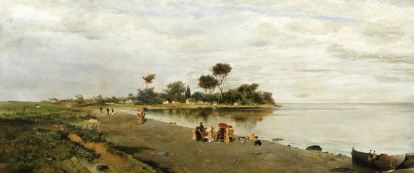 Painting - Elegant Figures At The Shore by Konstantinos Volanakis