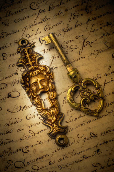 Cursive Photograph - Elegant Keyhole On Old Letter by Garry Gay