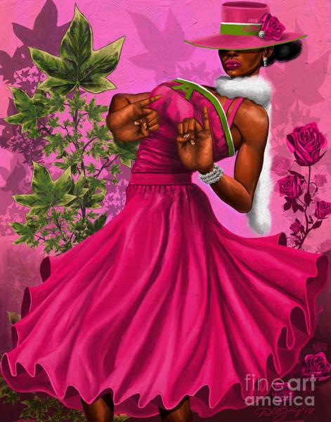 Rose Flower Digital Art - Elegant Pink And Green by The Art of DionJa'Y