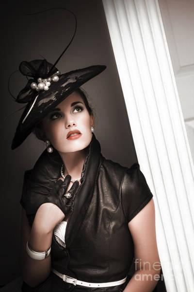 Bra Photograph - Elegant Woman Wearing Black Vintage Fashion by Jorgo Photography - Wall Art Gallery