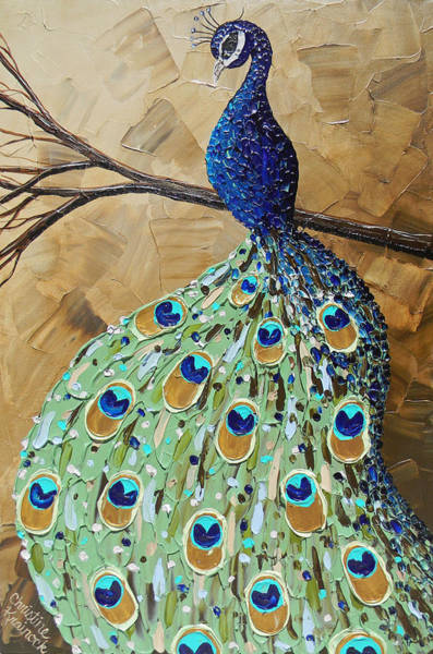 Wall Art - Painting - Elegantly Perched Peacock by Christine Bell