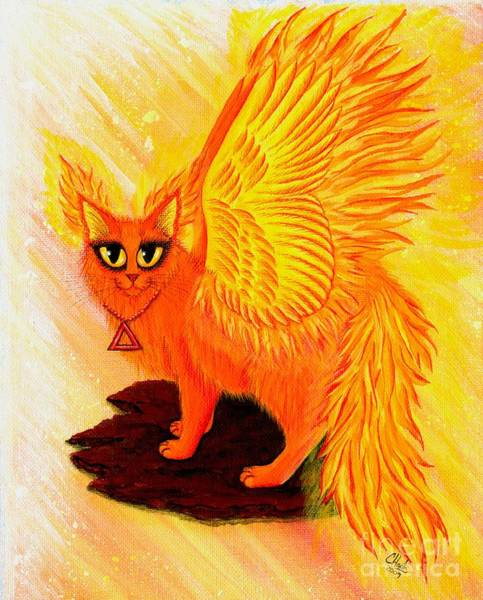 Painting - Elemental Fire Fairy Cat by Carrie Hawks
