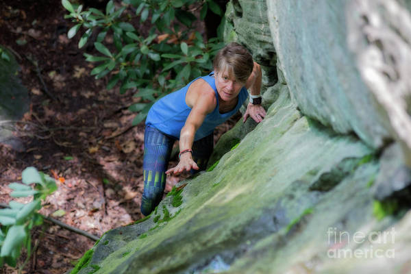 Photograph - Eleonore Climbing Looking For Next Hold by Dan Friend