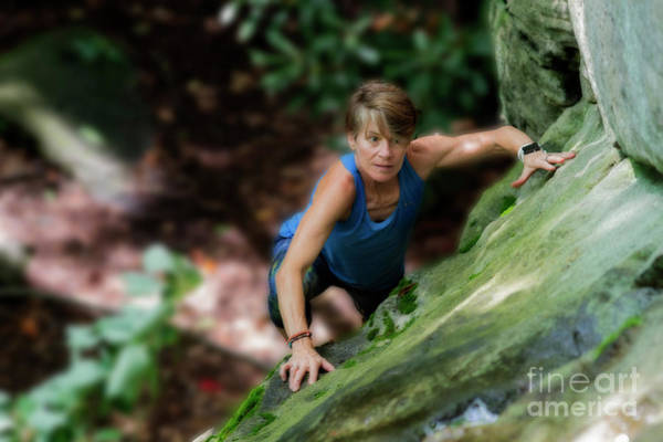 Photograph - Eleonore Climbing Looking Up For The Best Line by Dan Friend