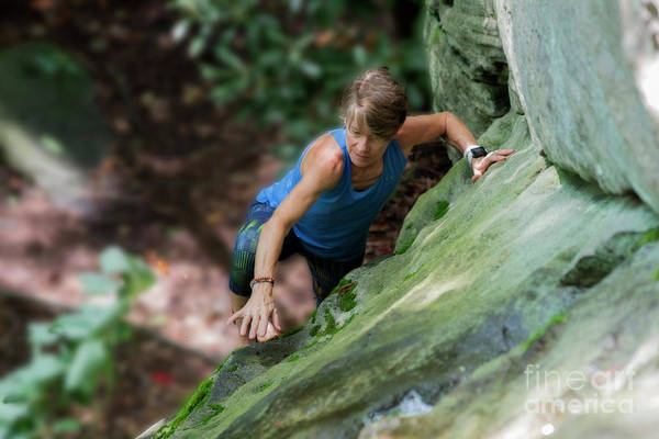 Photograph - Eleonore Climbing Up The Boulder by Dan Friend