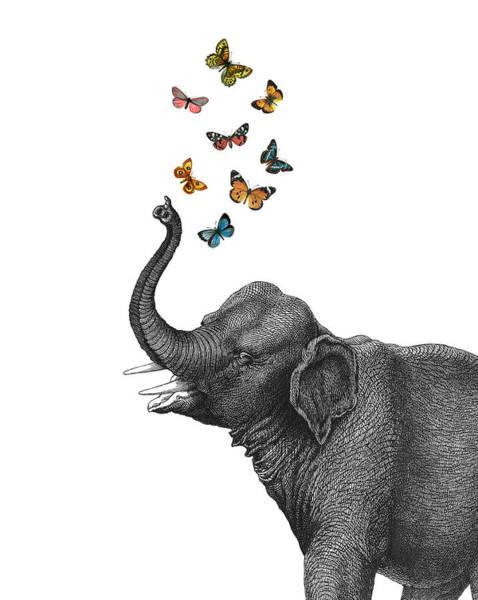 Elephant Blowing Butterflies From His Trunk Art Print