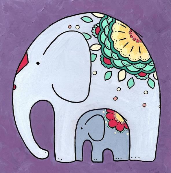 Elephant And Child - On Purple Art Print