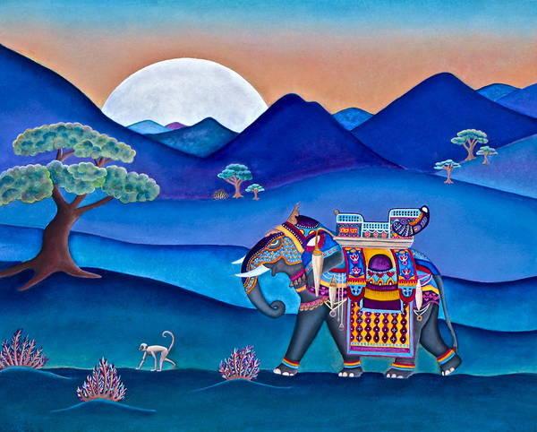 Elephant And Monkey Stroll Art Print