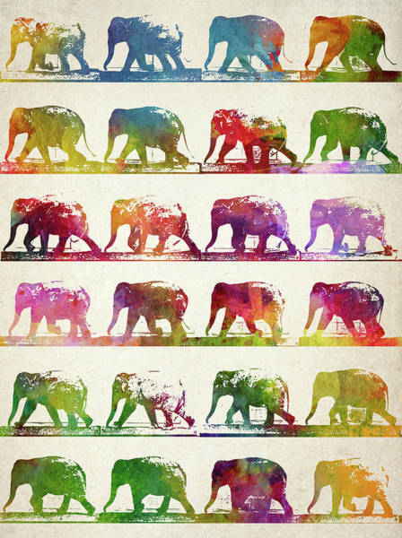 Vintage Poster Wall Art - Digital Art - Elephant Animal Locomotion  by Aged Pixel