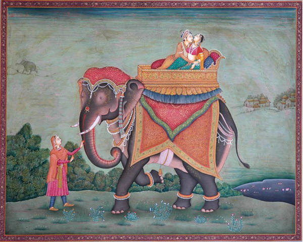 Wall Art - Painting - Elephant Animal Ride Royal King Queen Love Romance  India by R Verma