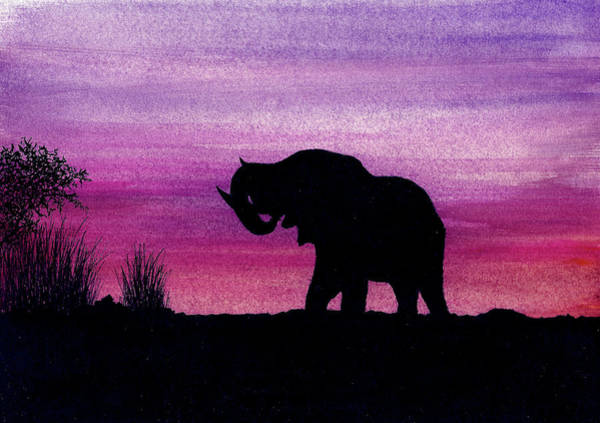 Wall Art - Painting - Elephant At Dusk - Silhouette by Michael Vigliotti