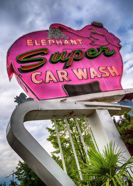 Car Wash Photograph - Elephant Car Wash by Stephen Stookey