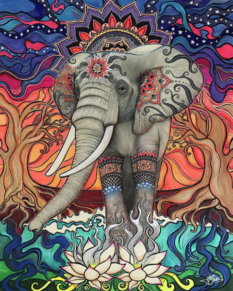 Ganesh Drawing - Elephant Enlightened by Julie Oakes