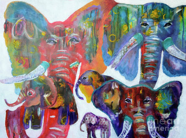 Painting - Elephant Family by Claire Bull