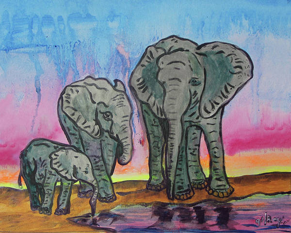 D.w Painting - Elephant Family by W Gilroy