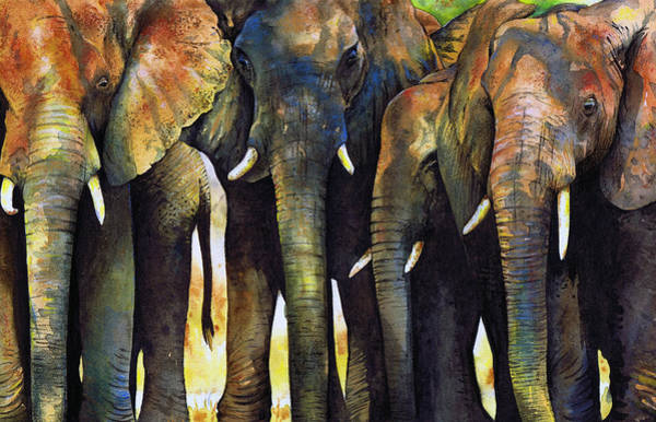 Watercolour Painting - Elephant Herd by Paul Dene Marlor